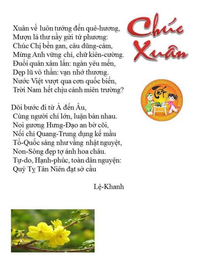 Chuc Xuan- Le Khanh moi sua