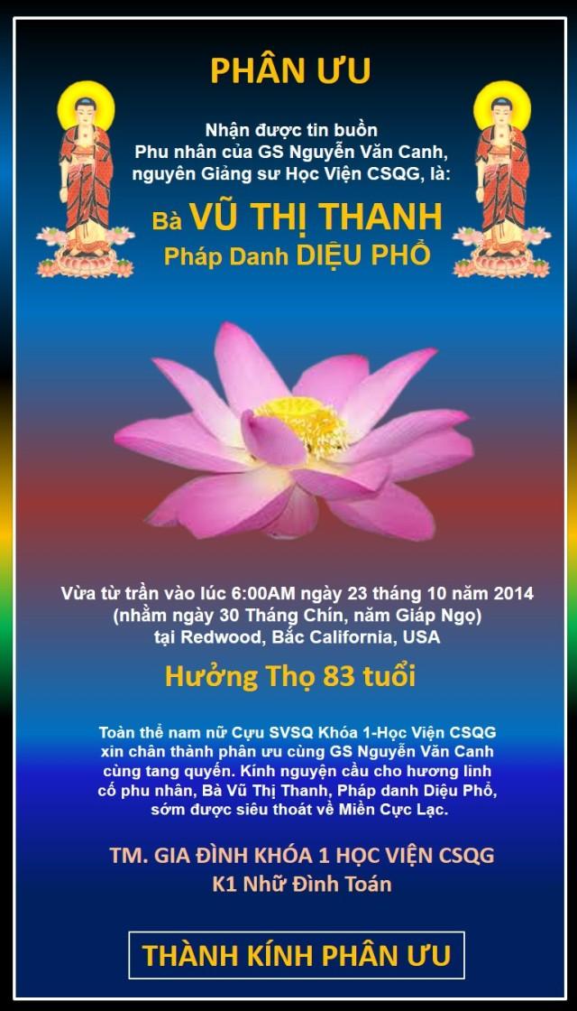 Phân Ưu của K1 goi GS Nguyen van Canh